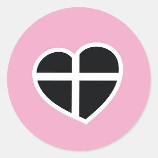 rosa Cornwall hjärta Runt Klistermärke