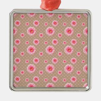 Rosa daisy, blommönster, blommar julgransprydnad metall