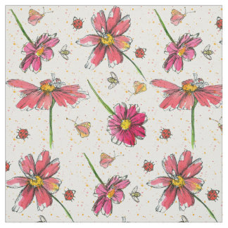 Rosa daisybinyckelpigor tyg