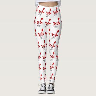 Rosa damasker för kärlek leggings