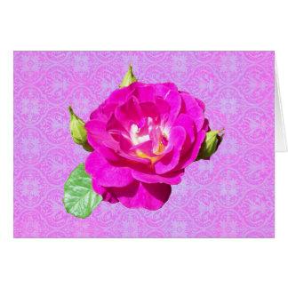Rosa damast för Violet Hälsningskort
