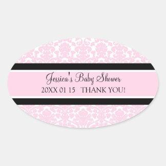 Rosa damastast baby showerfavörklistermärkear ovalt klistermärke