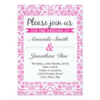 Rosa damastast bröllopinbjudan 12,7 x 17,8 cm inbjudningskort