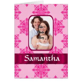 Rosa damastast fotomall hälsningskort