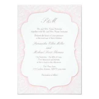 Rosa damastast inbjudan för gifta sig och