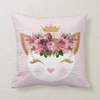 Rosa damastast kattungedekorativ kudde