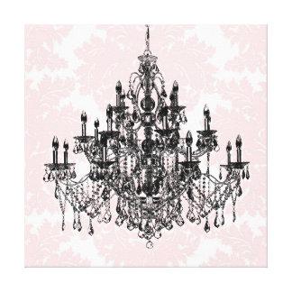 Rosa damastast konst för ljuskronakanfasvägg canvastryck