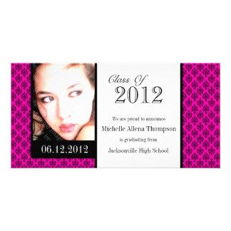 Rosa damastast kort för studentenmeddelandefoto