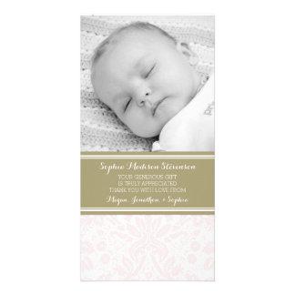 Rosa damastast kort för tackbaby showerfoto fotokort