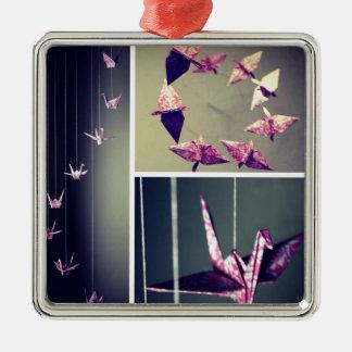 Rosa damastast mobil för origamikranspiral julgransprydnad metall