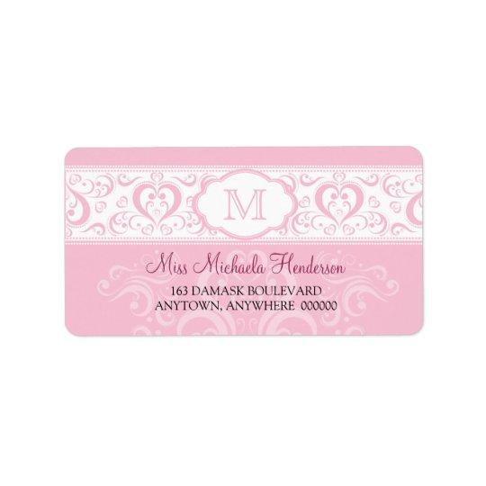 Rosa damastast Monogramadressetikett Adressetikett