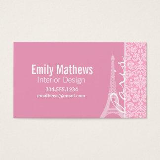 Rosa damastast mönster för nejlika visitkort