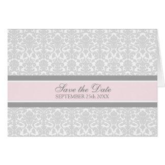 Rosa damastast spara datum meddelandekort hälsningskort
