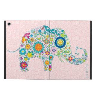 Rosa damastMonogram för Retro blom- elefant Fodral För iPad Air