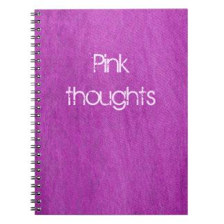 rosa denim anteckningsbok med spiral