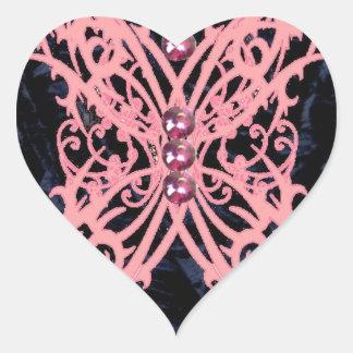 Rosa design för Dragonfly/marinsammet Hjärtformat Klistermärke