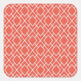 Rosa diamantmönster för modern stilfull korall fyrkantigt klistermärke