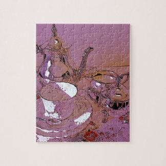 Rosa eftermiddagteauppsättning jigsaw puzzle