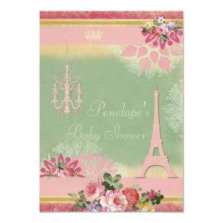 Rosa Eiffel torn och ljuskronaflickababy shower 12,7 X 17,8 Cm Inbjudningskort