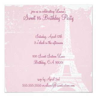 Rosa Eiffel tornfödelsedagsfest inbjudan