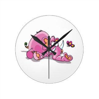 rosa elefantnedgångar medium rund klocka