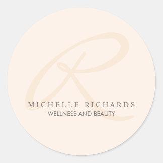 Rosa elegant Minimalist Monogram för viskning Runt Klistermärke