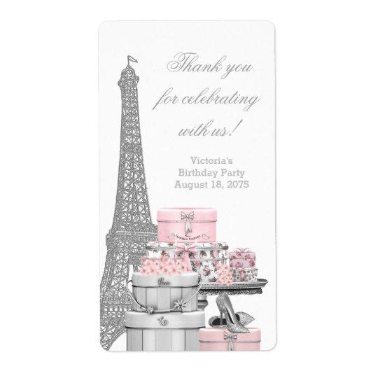 Rosa etiketter för Paris vinflaska Fraktsedel