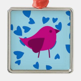 Rosa fågel med blåtthjärtor julgransprydnad metall