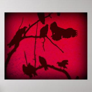 rosa fågelbild print