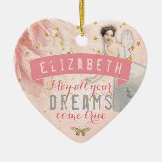 Rosa felika drömmar för balett | julgransprydnad keramik