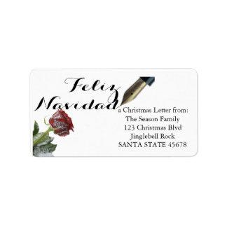 Rosa Feliz Navidad för snö brev Adressetikett