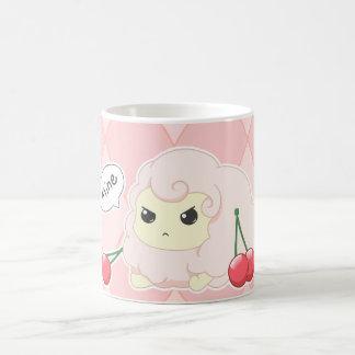 Rosa fiesty får för gullig kawaii med körsbär kaffemugg
