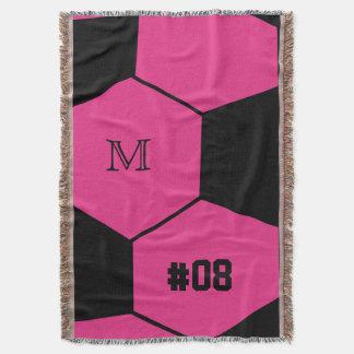 Rosa filt för kast för fotbollbollMonogram