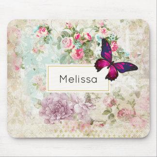 Rosa fjäril och sjaskiga vintagero musmatta