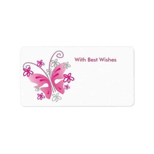 Rosa fjärilsgåvamärkre - bäst önskemål adressetikett