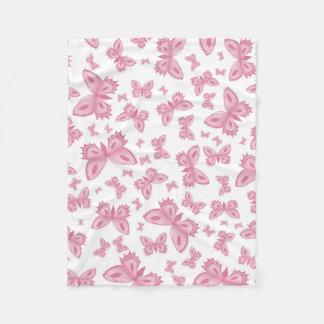 Rosa fjärilsull fleecefilt
