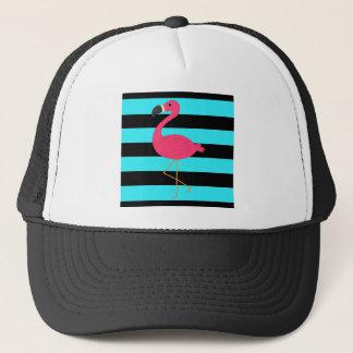 Rosa Flamingo på kricka och svart Truckerkeps