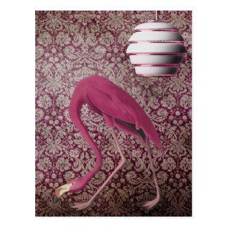 Rosa Flamingo på vintagetapeten Vykort