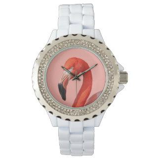 Rosa Flamingoansiktekvinna klocka