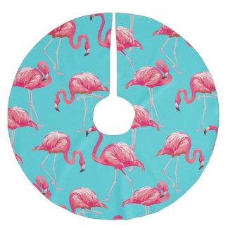 Rosa flamingofåglar på turkosbakgrund julgransmatta borstad polyester