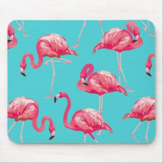 Rosa flamingofåglar på turkosbakgrund musmatta