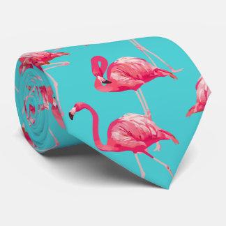 Rosa flamingofåglar på turkosbakgrund slips