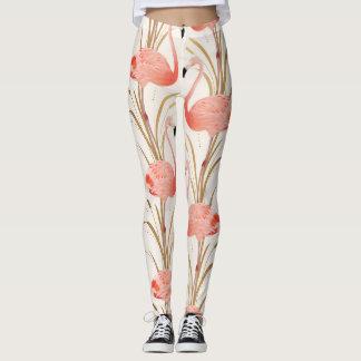 Rosa Flamingogenomköraredamasker Leggings