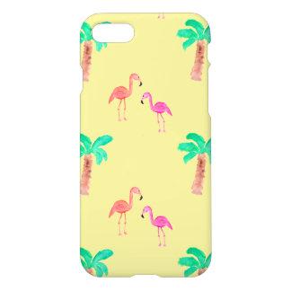 Rosa Flamingos med tropiska palmträd iPhone 7 Skal