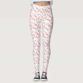 Rosa Flamingostryckdamasker Leggings