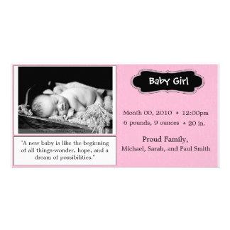 """Rosa """"flicka"""" födelsemeddelande fotokort"""