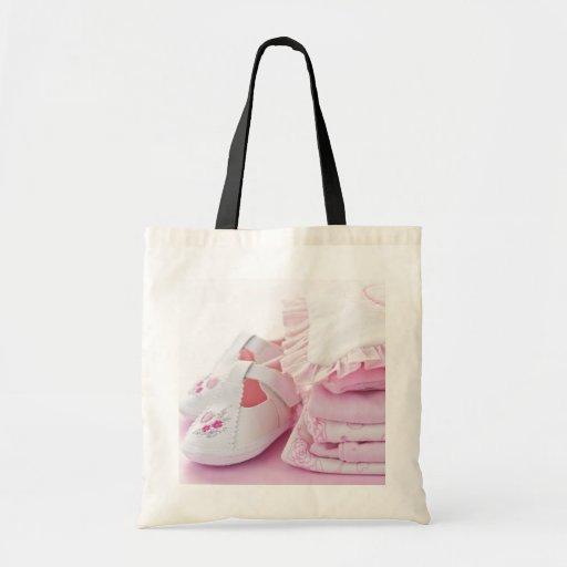 Rosa flickakläder för baby shower tygkassar