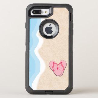 Rosa flinflip flops på stranden OtterBox defender iPhone 7 plus skal
