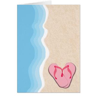 Rosa flinflip flops på strandkortet hälsningskort