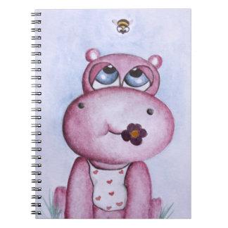 Rosa flodhästanteckningsbok anteckningsbok